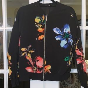 Mossimo Rainbow Floral Black Bomber Jacket